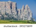 sciliar schlern mountain massif ...   Shutterstock . vector #395273899