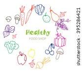 healthy organic eco vegetarian...   Shutterstock .eps vector #395286421