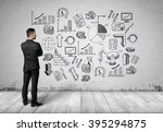 back view man looking at white... | Shutterstock . vector #395294875