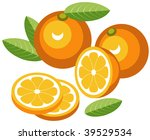 oranges with slices. vector... | Shutterstock . vector #39529534