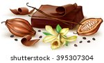 chocolate block and curl with... | Shutterstock .eps vector #395307304