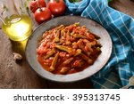 okra dish with tomatoes ... | Shutterstock . vector #395313745
