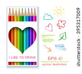 box with colorful pencils of... | Shutterstock .eps vector #395317009