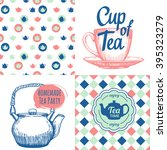 tea party set with seamless...   Shutterstock .eps vector #395323279