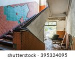 abandoned messy staircase with... | Shutterstock . vector #395324095