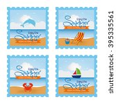 set of stickers with text and... | Shutterstock .eps vector #395335561