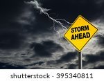 Small photo of Storm Ahead warning sign against a dark, cloudy and thunderous sky. Concept of political storm, personal crisis, or imminent danger ahead.