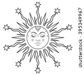sun symbol as a face inside... | Shutterstock .eps vector #395349967