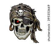 pirate skull with black bandana. | Shutterstock .eps vector #395353669