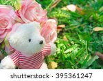 teddy bear with heart and roses ... | Shutterstock . vector #395361247