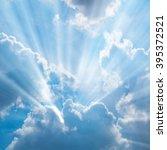 sunbeam through the haze on... | Shutterstock . vector #395372521