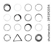 set of round hand drawn circles ... | Shutterstock .eps vector #395392054