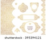 vector set of line art frames ... | Shutterstock .eps vector #395394121
