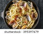 spaghetti vongole short necked... | Shutterstock . vector #395397679