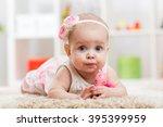 portrait of adorable baby girl...   Shutterstock . vector #395399959