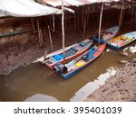the boat in a river near a sea  ... | Shutterstock . vector #395401039