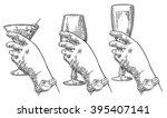 female hand holding a glass of... | Shutterstock .eps vector #395407141
