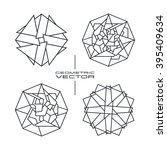 set of vector geometric pattern ... | Shutterstock .eps vector #395409634