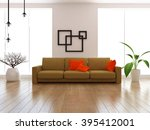 white room with large windows... | Shutterstock . vector #395412001