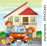 dad and son washing car at home ...   Shutterstock .eps vector #395421661