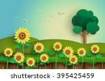 sunflower field with blue sky... | Shutterstock .eps vector #395425459