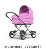 Pink Baby Stroller Isolated On...