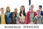 child companionship diversity... | Shutterstock . vector #395431324