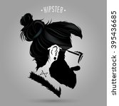 indie men hipster hair style... | Shutterstock .eps vector #395436685