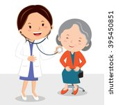 female doctor examining patient.... | Shutterstock .eps vector #395450851