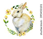 watercolor rabbit with yellow... | Shutterstock . vector #395453101