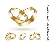 vector set of gold wedding... | Shutterstock .eps vector #395455999