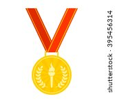 gold medal with pennant... | Shutterstock .eps vector #395456314