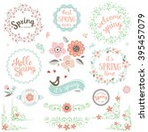 spring typography design set.... | Shutterstock .eps vector #395457079