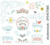 spring typography design set.... | Shutterstock .eps vector #395457085