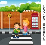 Two Kids Crossing The  Street...