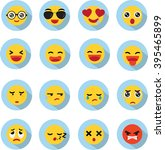set of emoticons in flat style | Shutterstock .eps vector #395465899