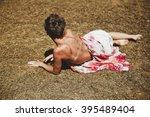 portrait of a girl in a field... | Shutterstock . vector #395489404