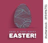 easter eggs flat thin line hand ...   Shutterstock .eps vector #395496751