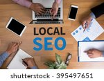 local seo concep business team... | Shutterstock . vector #395497651