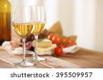 Glasses Of Wine With Food On...