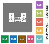 hifi flat icon set on color...