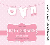 invitation for cute baby girl... | Shutterstock .eps vector #395520295