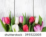 bouquet of fresh spring tulips  ... | Shutterstock . vector #395522005