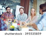 group of business people having ... | Shutterstock . vector #395535859