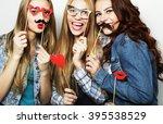 stylish sexy hipster girls best ... | Shutterstock . vector #395538529