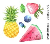 set of hand painted watercolor... | Shutterstock . vector #395539771