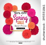 Sale Banner With Paper Flowers...