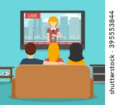 people watching news on... | Shutterstock .eps vector #395553844