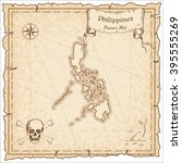 old pirate map of philippines.... | Shutterstock .eps vector #395555269