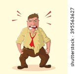 angry man foaming at the mouth... | Shutterstock .eps vector #395563627